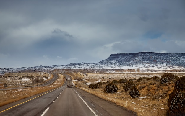 Winter snow covers the desert of tucson, arizona