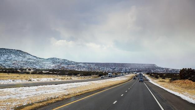 冬の雪はアリゾナ州ツーソンの砂漠を覆っています