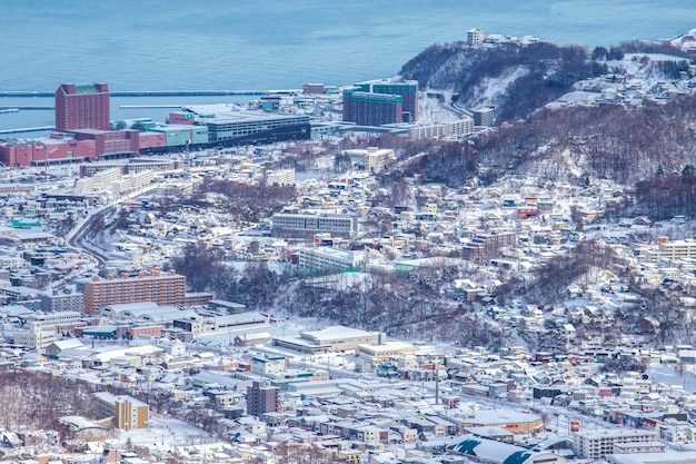 Winter snow landscape view in otaru city, hokkaido, japan