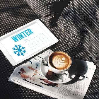 Concetto di calendario freddo del fiocco di neve invernale
