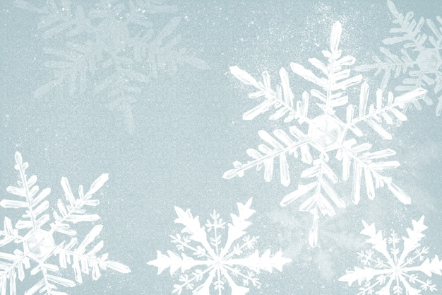 Winter snowflake illustration on blue background