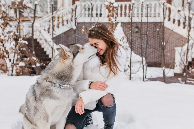 Winter snowing time on street of cute husky dog kissing charming joyful young woman. lovely moments, real friendship, domestic pets, true positive emotions.