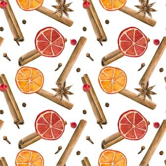 冬のスパイス。シナモンロール、オレンジ、スターアニス、クローブ、コショウ。シームレスパターン。手描きの水彩イラスト。