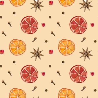 冬のスパイス。シナモンロール、オレンジ、スターアニスクローブペッパー