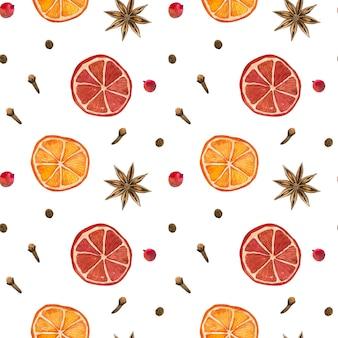 冬のスパイス。オレンジ、スターアニス、クローブ、コショウ。シームレスパターン。手描きの水彩イラスト。