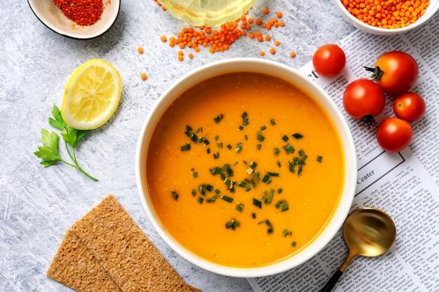 Winter spicy lentil cream soup