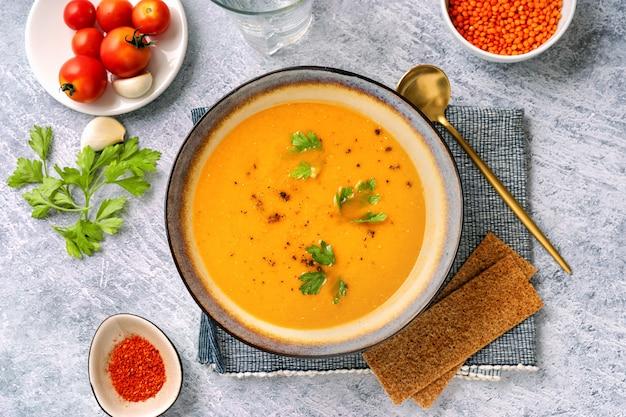Winter spicy lentil soup