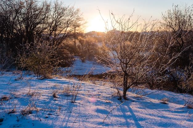 Зимний солнечный утренний пейзаж с проселочной дорогой.