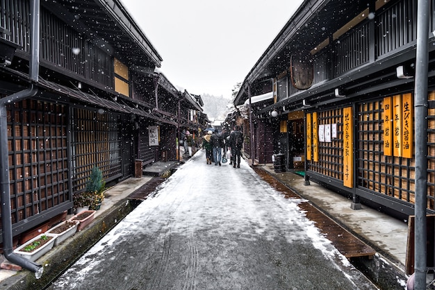 Winter takayama building and old street