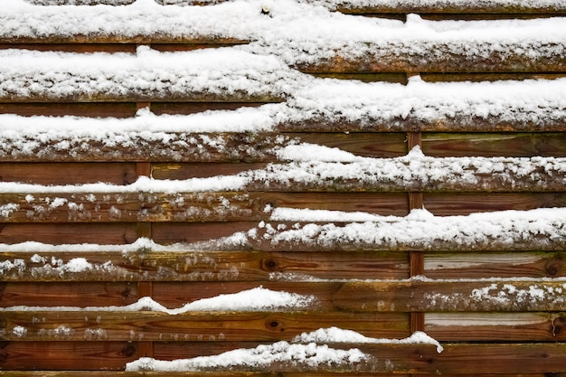 Winter texture concept-natural background from boards covered with snow.