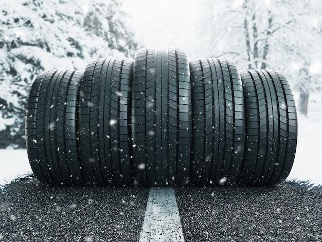 Winter tire in snow closeup, 3d rendering illustration