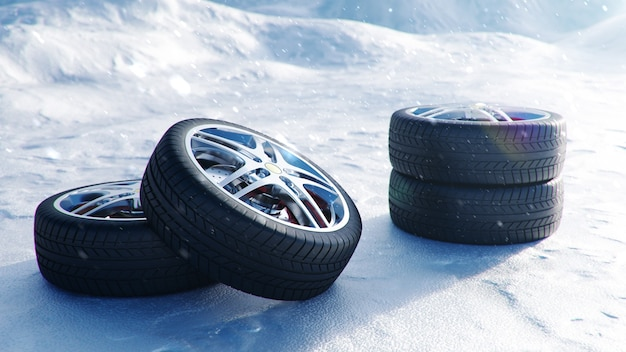Winter tires on a background of snowstorm, snowfall and slippery winter road. winter tires concept. concept tyres, winter tread. wheel replacement. road safety. 3d illustration with falling snow