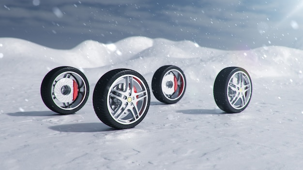 背景の吹雪、降雪、滑りやすい冬の道路の冬用タイヤ。冬のコンセプトの交通安全