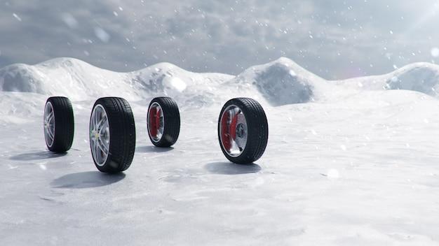 배경 눈보라, 눈보라 및 미끄러운 겨울 도로에 겨울 타이어. 겨울 개념 도로 안전