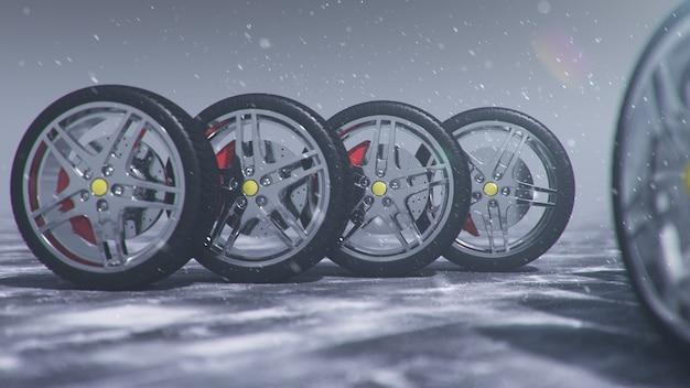 Зимние шины на фоне метели, снегопада и скользкой зимней дороги. зимняя концепция безопасности дорожного движения