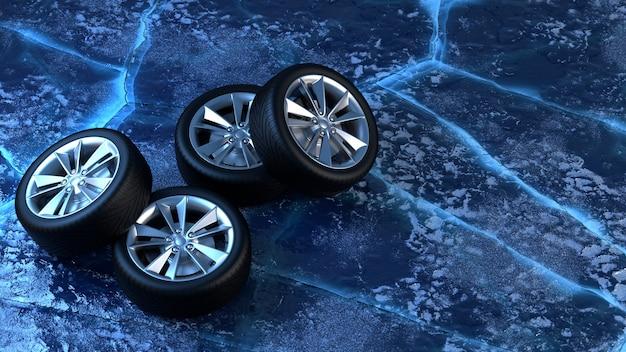 氷の上の冬用タイヤ。車の安全と運転のコンセプト