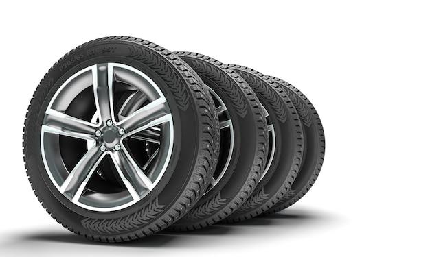흰색 바탕에 겨울 타이어입니다. 3d 렌더링입니다.