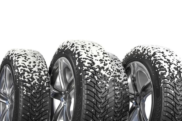 Зимние шины со снегом на белом фоне. 3d визуализация.