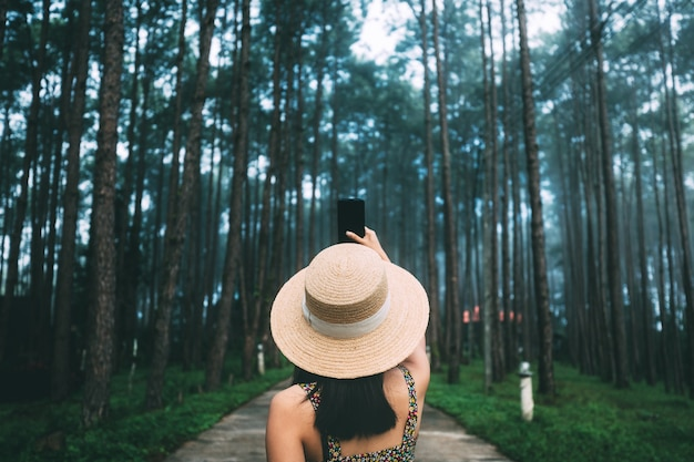 冬の旅行リラックス休暇の概念、ドイボルアン森林公園、チェンマイ、タイの松の木の庭で携帯電話観光で若い幸せな旅行者アジアの女性