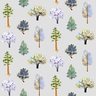 灰色の背景に冬の木のパターン手描き水彩イラストカードカバー
