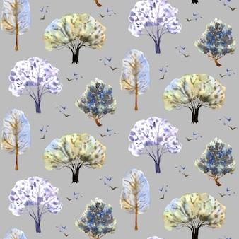 灰色の背景に冬の木のパターン手描き水彩イラストカバー装飾