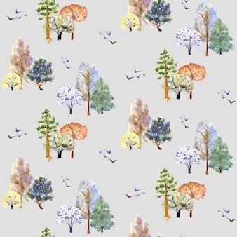 灰色の背景に冬の木のパターン手描き水彩イラスト
