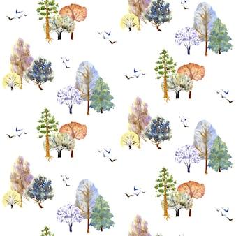 冬の木は白い背景にパターンします。手描きの水彩イラスト。