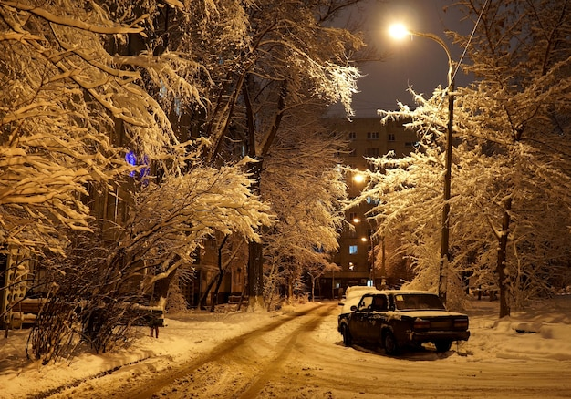 Winter urban landscape in the dark courtyard of the european part of russia