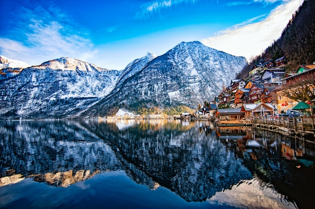 Winter view of hallstatt