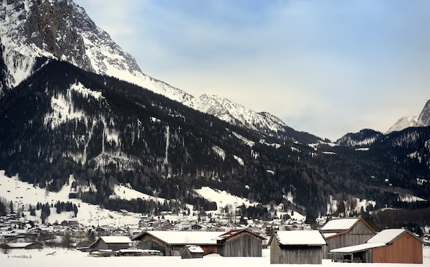 Winter view of a small town in the alpine mountains