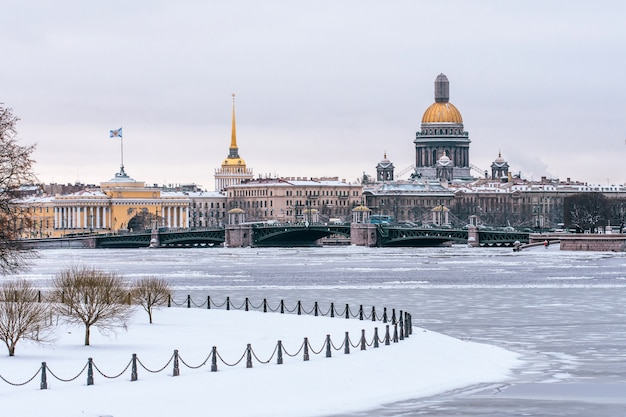 Winter view of st. isaac's cathedral to st. petersburg.