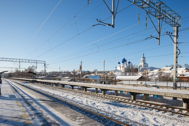Winter view of the train station in russia. travel to russia