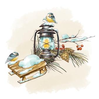 素朴なランタン、ティットマウス、モミの枝、レトロな木製のそりと冬のヴィンテージグリーティングカード。森のおとぎ話の休日のイラスト