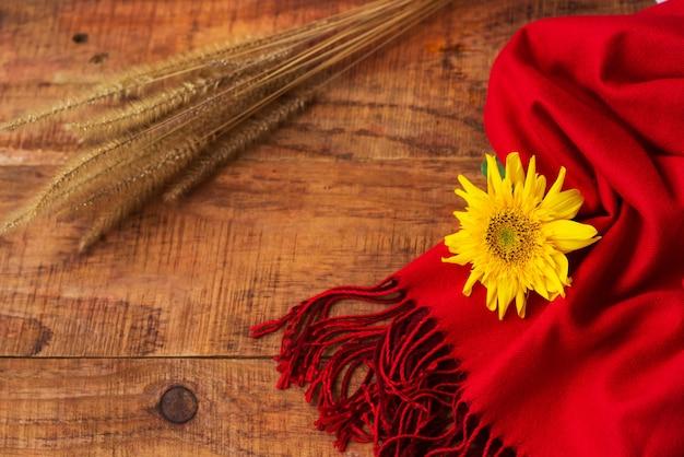 겨울, 따뜻한 분위기. 나무 배경에 빨간 스카프, 해바라기, 밀 이삭이 있는 프레임. 겨울 저녁입니다. 플랫 레이, 레이아웃, 텍스트 배치, 엽서, 고해상도