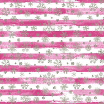 Winter watercolor hand drawn striped seamless pattern print with silver beauty snowflakes. white background with pink watercolour stripes. gift wrapping. happy new year and merry christmas concept.