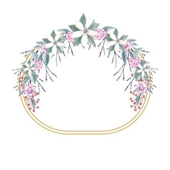 눈 열매의 어린 가지와 금 타원형 프레임의 겨울 수채화