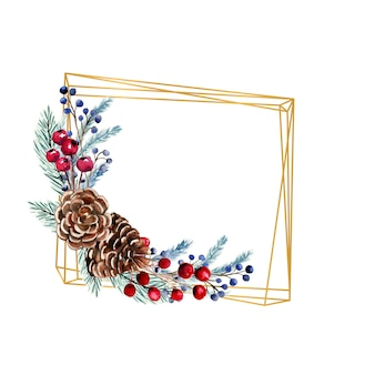 Winter watercolor polygonal frame with berries, fir cones, fir branches. hand-drawn christmas illustration. for invitations, greeting cards, prints, posters, advertising.