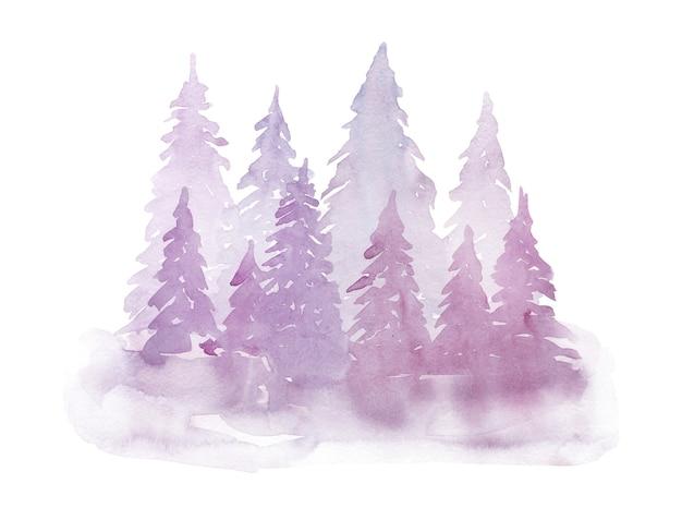 Зимние акварельные фиолетовые ели в тумане. рисование руки