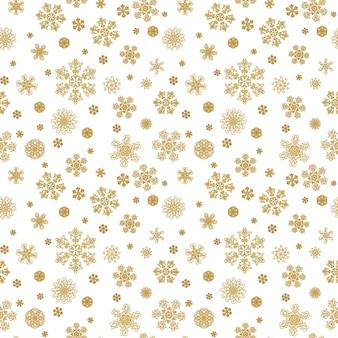 冬の白い手描きのシームレスなパターンプリントとゴールドの美しさの雪片。金色の雪の結晶と豪華な背景。明けましておめでとう、メリークリスマスのコンセプト。テキスタイル、壁紙、ラッピング用に印刷
