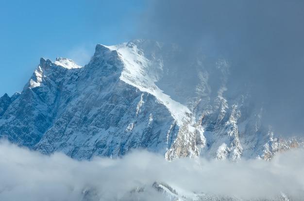 Winter zugspitze mount (mountain top is close) view from fern pass, austria.