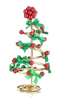 白で隔離のワイヤークリスマスツリー