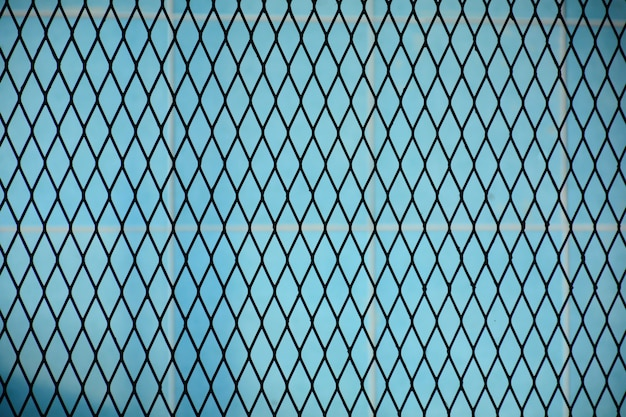 Wire fence pattern front a blue ceramic wall