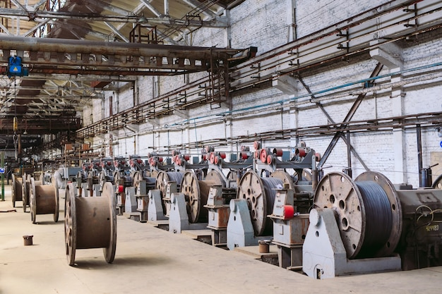 Wire rod, fittings in warehouses. industrial storehouse at the metallurgical plant.