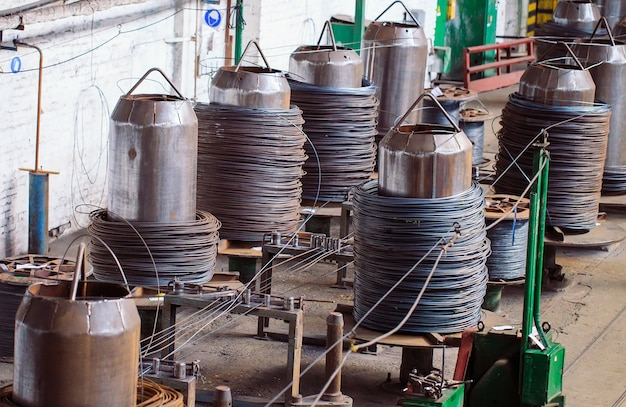 Wire rod, fittings in warehouses.