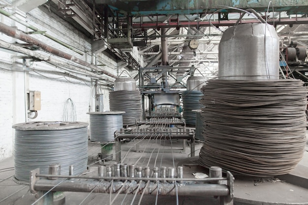 Wire rod, rebar, mesh in warehouses. production warehouse at the cable plant.