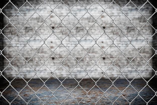 그런 지 배경에 유선된 울타리 패턴