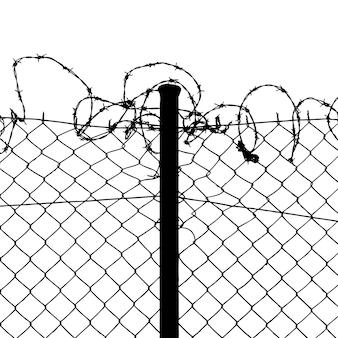 Проводной забор с колючей проволокой