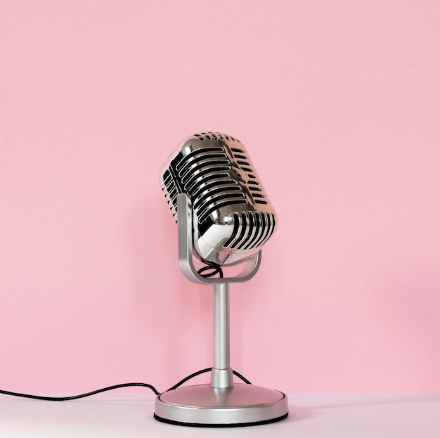 Wired microphone with pink background