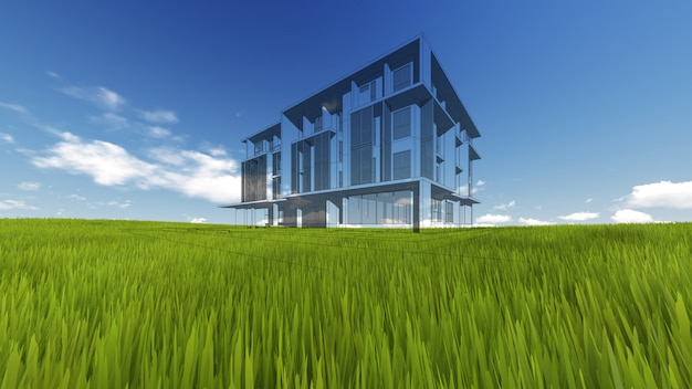 Wireframe building on green grass and blue sky. extremely high detailed quality render.