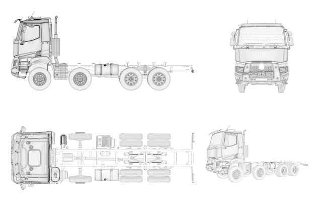 Wireframe generic and brandless truck in four view